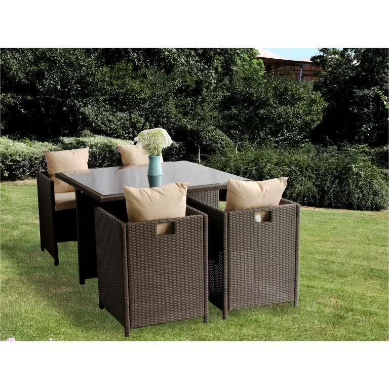 мебель из ротанга Комплект обеденный CUBE (стол + 4 кресла)