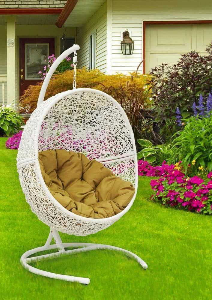 мебель из ротанга Кресло подвесное Lunar White